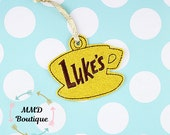 Luke's Diner Gilmore girls Embroidered  Sparkle vinyl Christmas tree  ornament  Christmas tag/gift