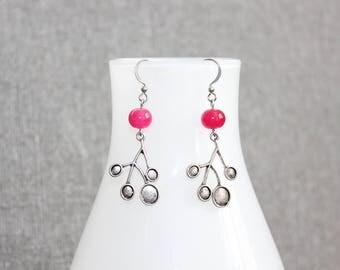 boucles d'oreilles,bijoux mode, rose, pink, earrings, acier inoxydable, nature, tous les jours, fait au quebec, bijoux femme, bohème
