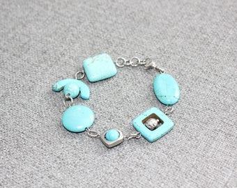 bijoux, bracelet ajustable, bracelet, bracelet turquoise, turquoise, bijou fantaisie, géométrique, acier inoxydable, argent, fait au quebec