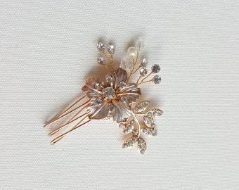 Gold Wedding Hair comb, Floral Hair Comb, Bridal Hair Accessory