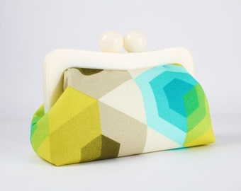 Resin frame clutch bag - Neon hexies in turquoise - Awesome purse / White frame / Japanese fabric / Neon green blue grey brown