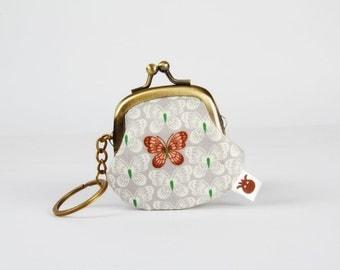 Keychain purse - Little butterflies on light grey - Big Lillipurse / Metal frame coin purse / Korean fabric / brown green peach pink stars