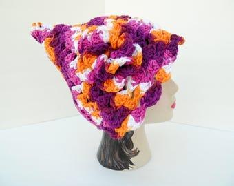 Cute Pixie Hat Cotton Hat with Flower, Batik Pixie Shell Hat Spring SHOP EVENT