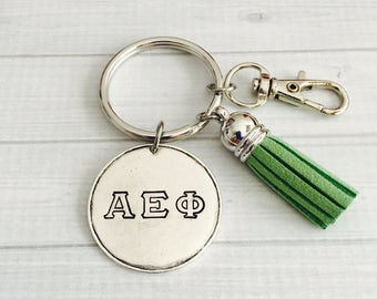 Alpha Epsilon Phi Key Chain - Sorority Key Chain - Tassel Key Chain - Personalized Sorority Key Chain - Sorority Gift - Big Little Gift