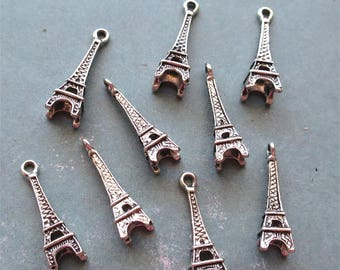 Eiffel tower charms silver tone