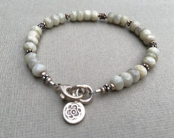 African Sapphire Bracelet- Sage Green Color- Bali Silver- Hill Tribe Silver Flower Charm Dangle