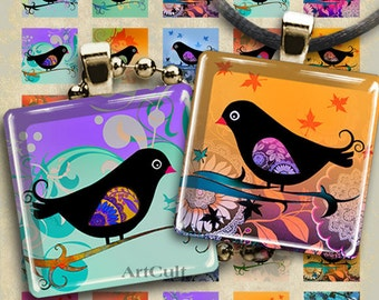 "Printable download Digital Collage Sheets BIRDIE 1""x1"", 7/8""x7/8"" and 1.5""x1.5"" size images for glass or resin pendants magnets bezel trays"
