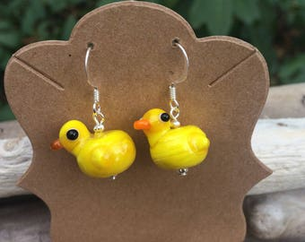 Spring earrings Rubber Ducky earrings duck charm duck earring yellow duck beaded earrings Seasame Street earrings JunQueJules Easter earring