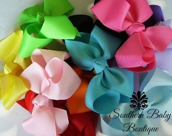 BOW BLOWOUT---Boutique Baby Toddler Big Girl Hair Bows 4 Inch---You Choose 3---