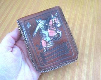Vintage 1950s/60s Tooled Leather Zippered Wallet with Horseback Cowboy Design