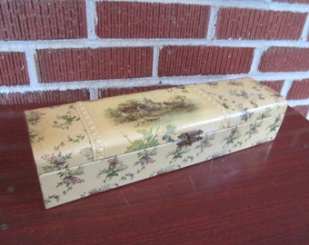 Antique Edwardian Celluloid Glove Box with Scenic Village Design