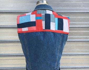 vintage liz wear denim vest // quilted OOAK hand dye patchwork