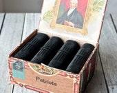 Black Leather Journal Box Set - Matching Books in John Marshall Antique Cigar Box