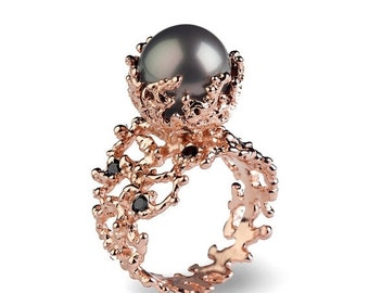 HOLIDAYS SALE - CORAL Tahitian Pearl Ring, Tahitian Pearl Engagement Ring, Black Diamond Engagement Ring, Rose Gold Engagement Ring, Black D