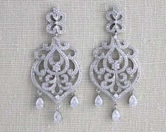 Crystal Bridal earrings, Chandelier Wedding earrings, Wedding jewelry, Swarovski earrings, Rose Gold earrings, Crystal earrings, AMELIA