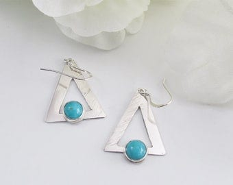 Blue Stone Dangles, Amazonite on Sterling Triangles with Hammered Texture