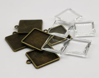 SQUARE Bezel with 20mmX20mm GLASS Magnifying Domes Cabochon - 5 sets 10 pcs  - 28mmx23mm Antique Brass - KB09 - We are USA Seller