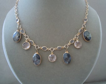 Sunlit -- One of a Kind -- Faceted Mica, Smoky Quartz, Peach Quartz Necklace