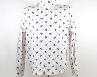 Ugly Christmas Sweater Vintage 1980s Shirt Turtleneck Tacky Holiday Women's size L