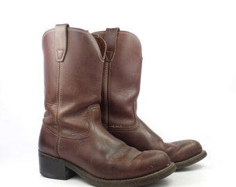 Brown Cowboy Boots Vintage 1970s Roper Distressed Men's size 7 1/2 EE Cork Rubber sole