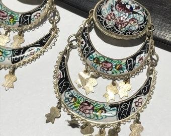 Vintage Dangle Clip-on earrings . Persian Enamel