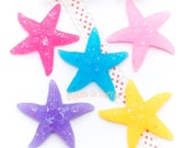 Resin Cabochon - Glitter Flakes Starfish Resin Cabochon - 5 pieces