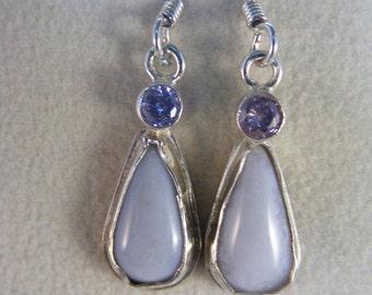 Sterling Silver Chalcedony CZ Earrings