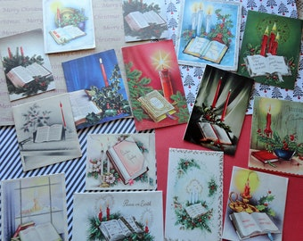 Candles and the Good Book or Good Music in Large Lot of 15 Vintage Christmas Card Lot No 1033