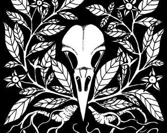 Belladonna & Crow Skull Art Print