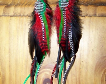 Red and Green Feather Earrings, Christmas Earrings, Holiday Earrings, Christmas Jewelry, Green Earrings, Santa Earrings, Green and Black