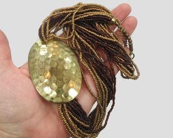 Brass Necklace, Oversized, Vintage Beaded, Statement, Multi Strand, Gold Brown, Glass Beads, Torsade, 1980s 80s, Big Chunky Massive
