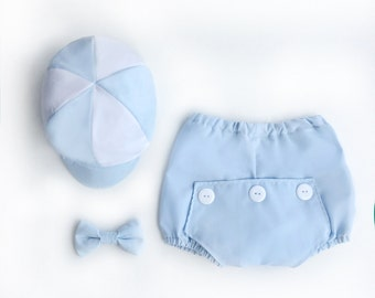 Blue Baby Bloomers Cake Smash Outfit, Retro Cake Smash Set, Boy Cake Smash, Baby Boy Bloomers, 1st Birthday Outfit, Boys Picture Outfit