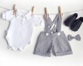 Black White Gingham Baby Boy Clothes, 4 Piece Baby Boy First Birthday Outfit, Baby Suit, Baby Suit, Ringbearer Outfit, Baby Wedding