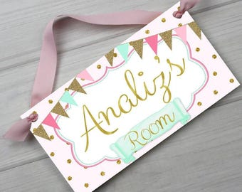 Soft Pink Aqua and Gold Girls Bedroom Baby Nursery DOOR SIGN Wall Art Ds0445