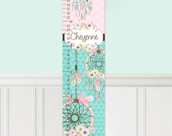Canvas GROWTH CHART Pink Aqua Dream Catcher Growth Chart Girls Bedroom Nursery Personalized Canvas Growth Chart Gc0301