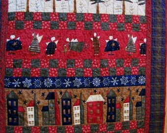 Cozy lap quilt  Quilted wall hanging Christmas quilt throw quilt folk art  winter blanket Quiltsy handmade