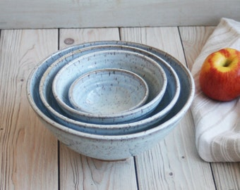 Set of Four Rustic White Speckled Glaze Ceramic Nesting Bowls Rustic Handmade Pottery Ready to Ship Made in USA