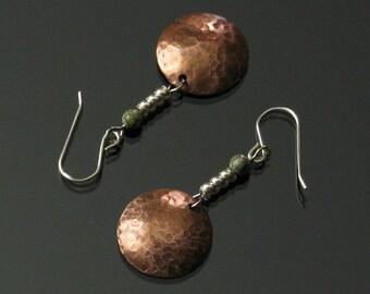 Copper & Silver Earrings, Unique Metal Earrings, Mixed Metal Jewelry, Modern Copper Earrings, Unique Jewelry Gift for Women, Girlfriend