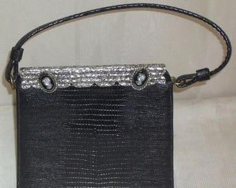 ON SALE Vintage Lizard Skin Kelly Purse Juliart Cameo Intaglio Hematite Handbag France