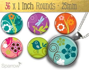 Vibrant Fauna and Flora - (1x1) One Inch Round Pendant Collage Images - Digital Sheet - Buy 2 Get 1 Free - Digital Download - Automatic