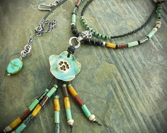 Turquoise Cherry Blossom Southwestern Pendant in Multicolor with Leather