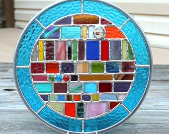 Multicolored Geometric Round Stained Glass Panel