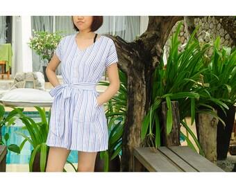 colourful stripe short sleeves shirt dress/ jumpsuit