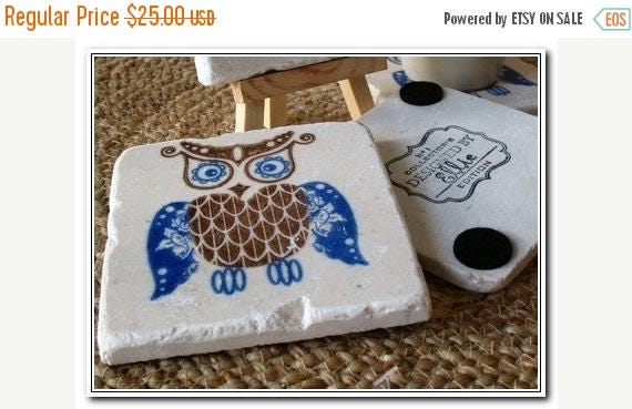MEMORIALDAYSALE Royal Blue Owl Tile Coasters - Owl Home Decor - Set of 4 - Ready to Ship
