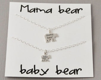 Mama Bear Necklace set / Mama necklace /baby necklace / Mother daughter Necklace set