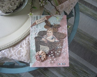 Vintage-style Baby Girl Card - Handmade New Baby Girl Card