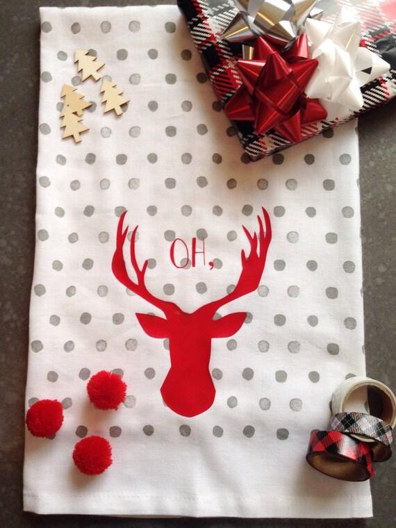 Oh Deer Punny Christmas or Anytime Tea Towel