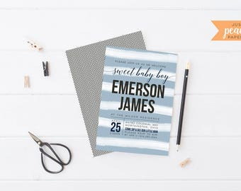 BIRTH ANNOUNCEMENT baby boy | sip and see | navy | gray | chevron | personalized | print at home