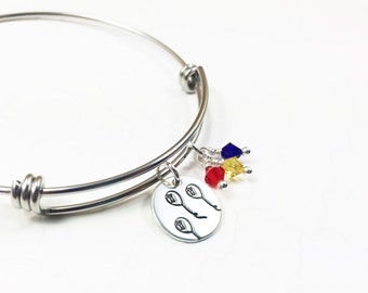 Colorful Balloon Bracelet - Up and Away Bangle - Sweet Whimsical Jewelry - Graduation Gift - Custom Bracelet - Hand Stamped Bangle