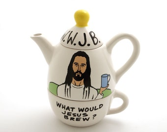 Jesus Teapot - Tea for One -   What Would Jesus Brew?  - Inspirational tea set -  funny teapot - home and living - Inspirational gift